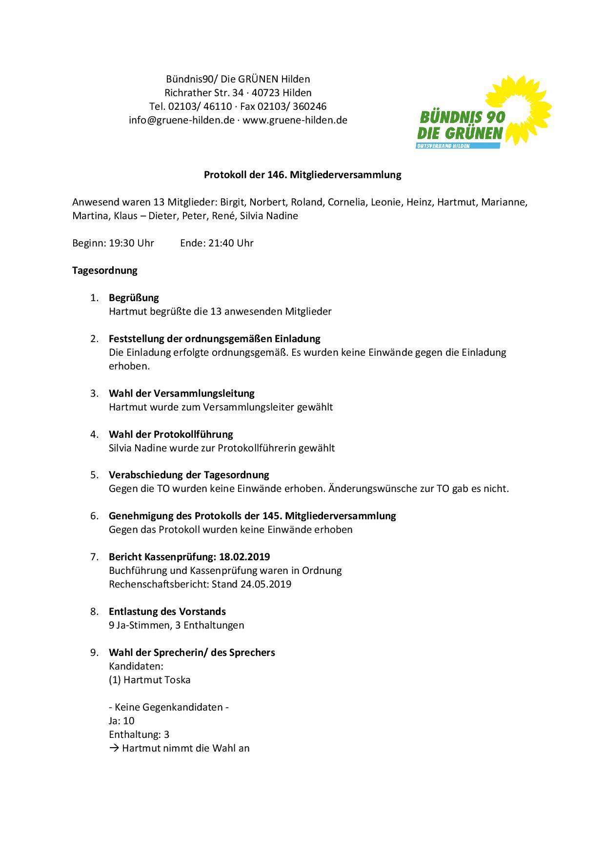 Protokoll 146. Mitgliederversammlung Seite 1